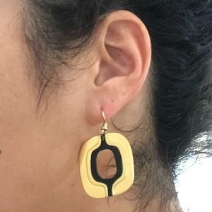 Vintage Laurel Burch Earrings Black and Gold